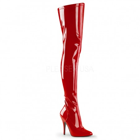 Pleaser Seduce 3000 Thigh High Stretch Boot Red Patent