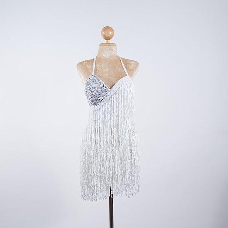 Cabaret Sequin Fringe Bodysuit White