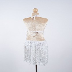 White Sequin Fringe Cabaret Bodysuit with Sequin Bra Cup