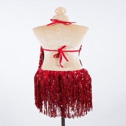 Cabaret Sequin Fringe Bodysuit Red