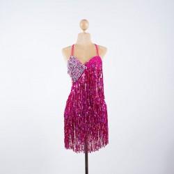 Cabaret Sequin Fringe Bodysuit Hot Pink