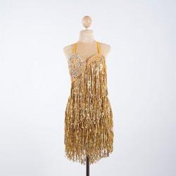 Cabaret Sequin Fringe Bodysuit Gold