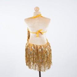 Gold Sequin Fringe Cabaret Bodysuit with Sequin Bra Cup