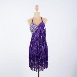Cabaret Sequin Fringe Bodysuit Dark Purple