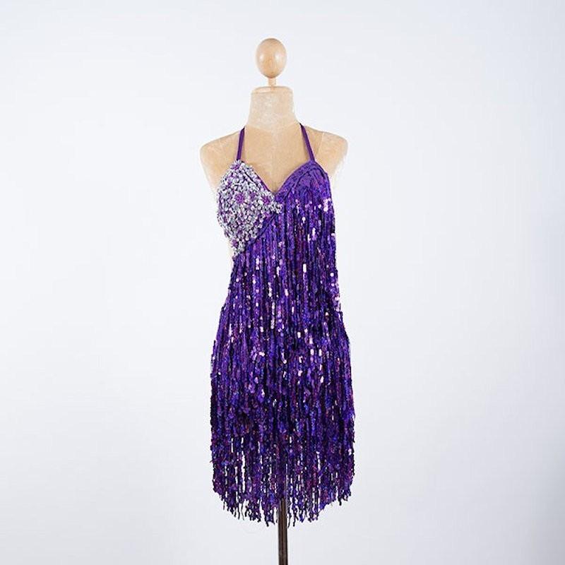 Purple Sequin Fringe Cabaret Bodysuit with Sequin Bra Cup