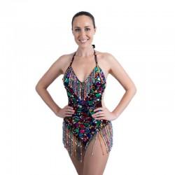 Sequin Mirror Mesh Bodysuit  with Fringe Multi Colour