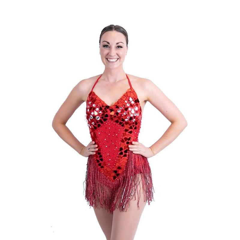 Sequin Mirror Mesh Bodysuit with Fringe Red