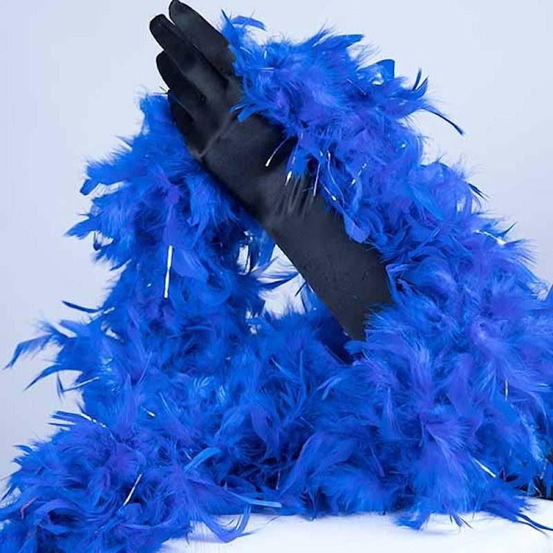 Turkey Feather Boa 180cm Royal Blue with Silver Tinsel Flick
