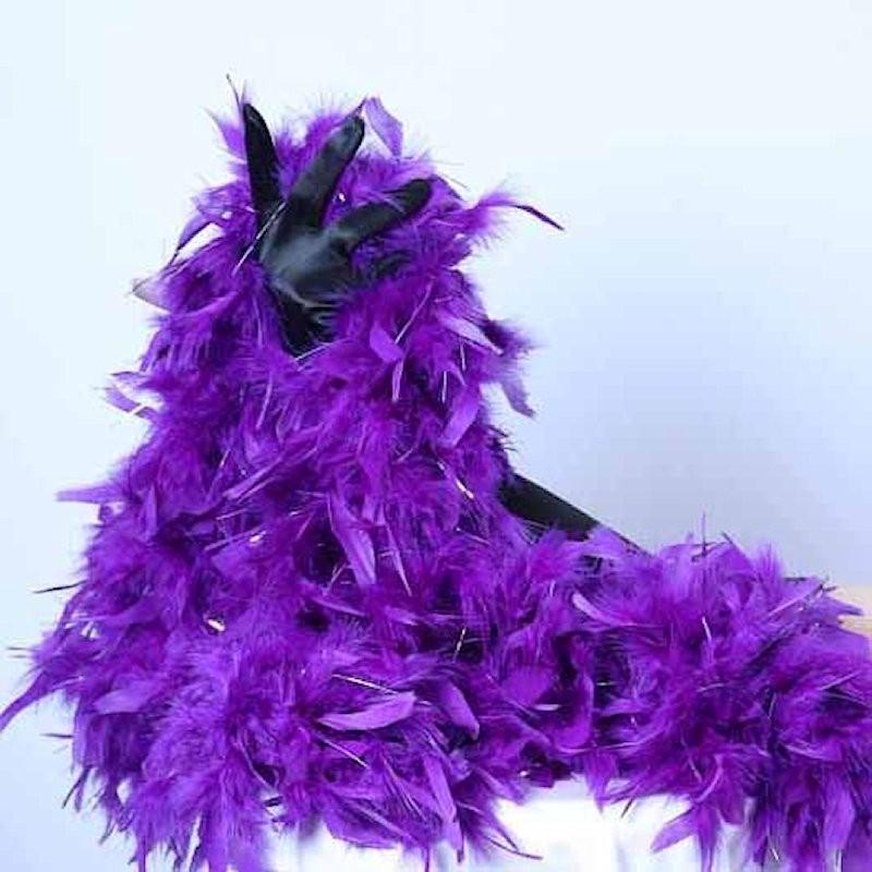 Turkey Feather Boa 180cm Dark Purple with Silver Tinsel Flick