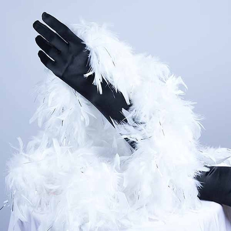 Turkey Feather Boa 180cm White with Silver Tinsel Flick