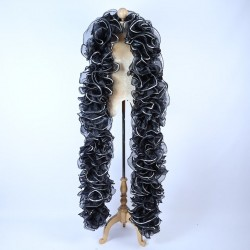 Organza Boa 250cm Black with Sequin Trim