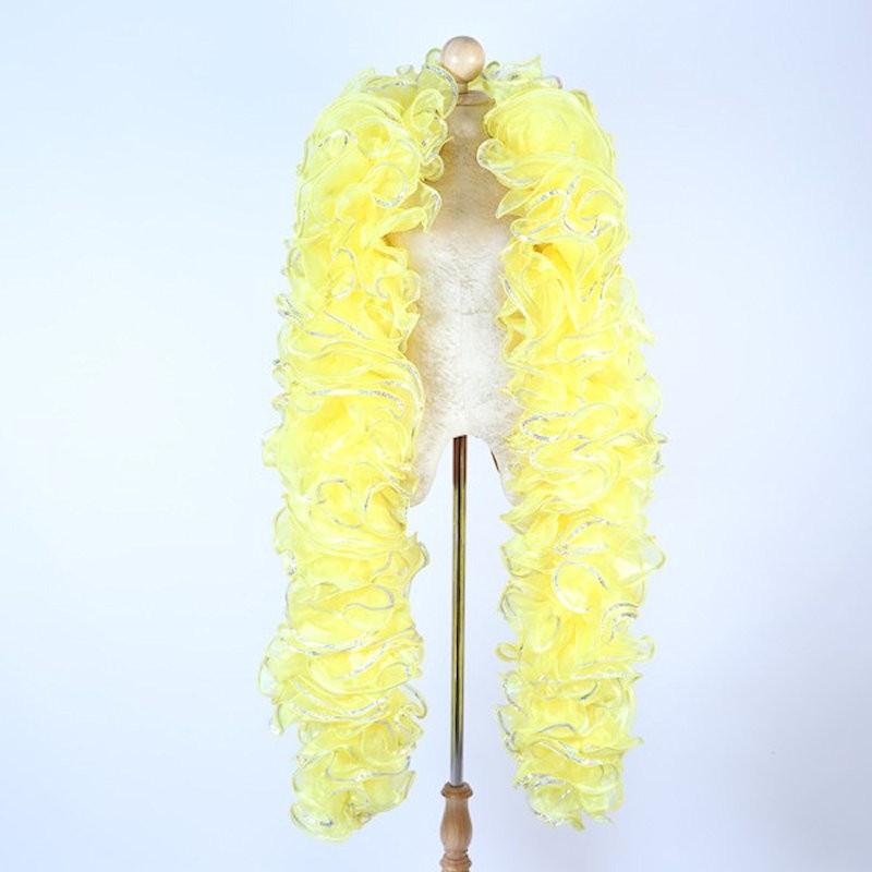 Yellow Crystal Organza Boa 250cm with Silver Sequin Trim