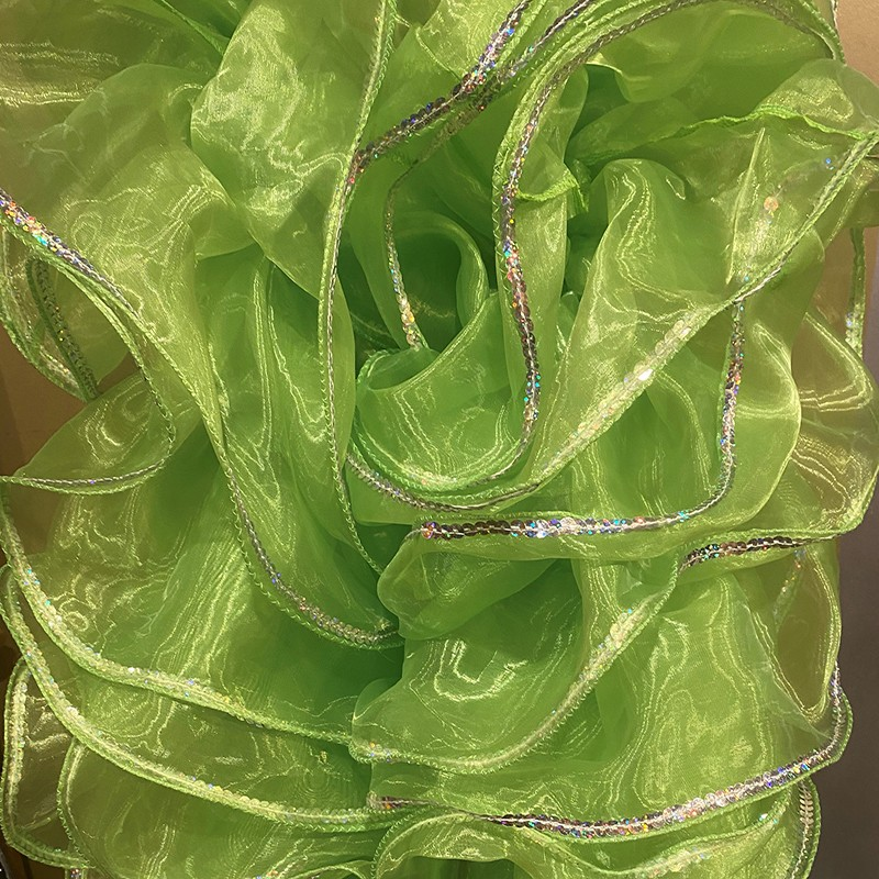 Lime Green Crystal Organza Boa 250cm with Silver Sequin Trim