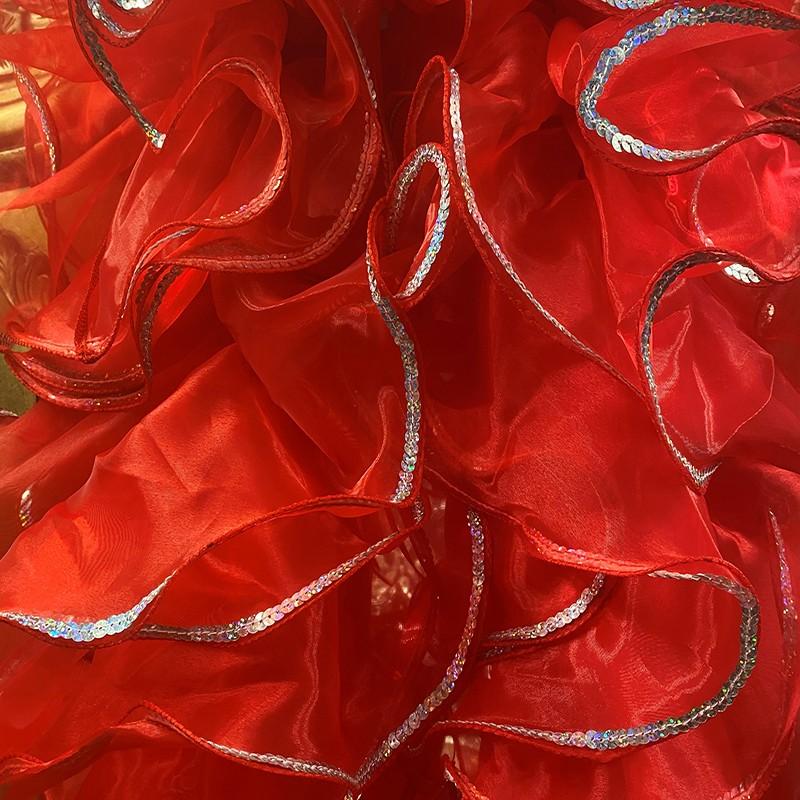 Red Crystal Organza Boa 250cm with Silver Sequin Trim