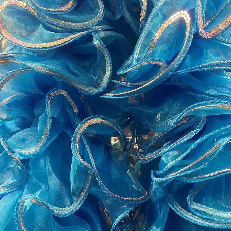 Organza Boa 250cm Aqua Blue with Sequin Trim