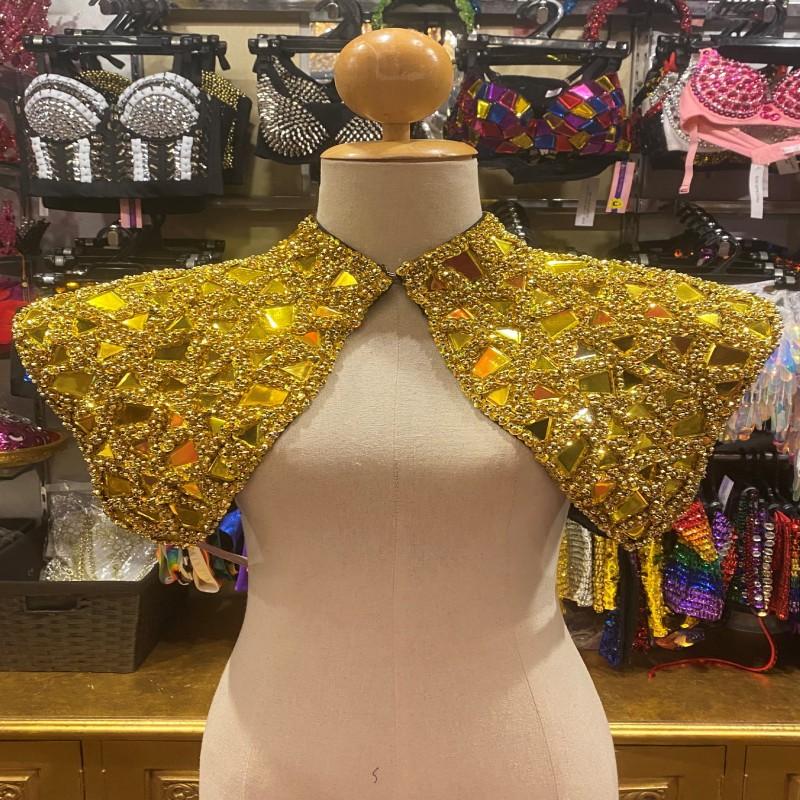 Mirrored Sequin Shoulder Shrug Gold