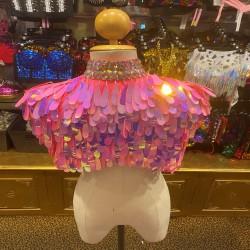 Teardrop Sequin & Diamante Shoulder Shrug Pink
