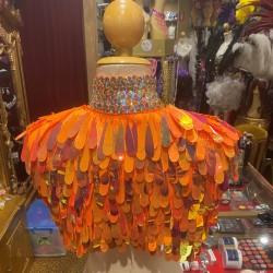 Teardrop Sequin & Diamante Shoulder Shrug Orange