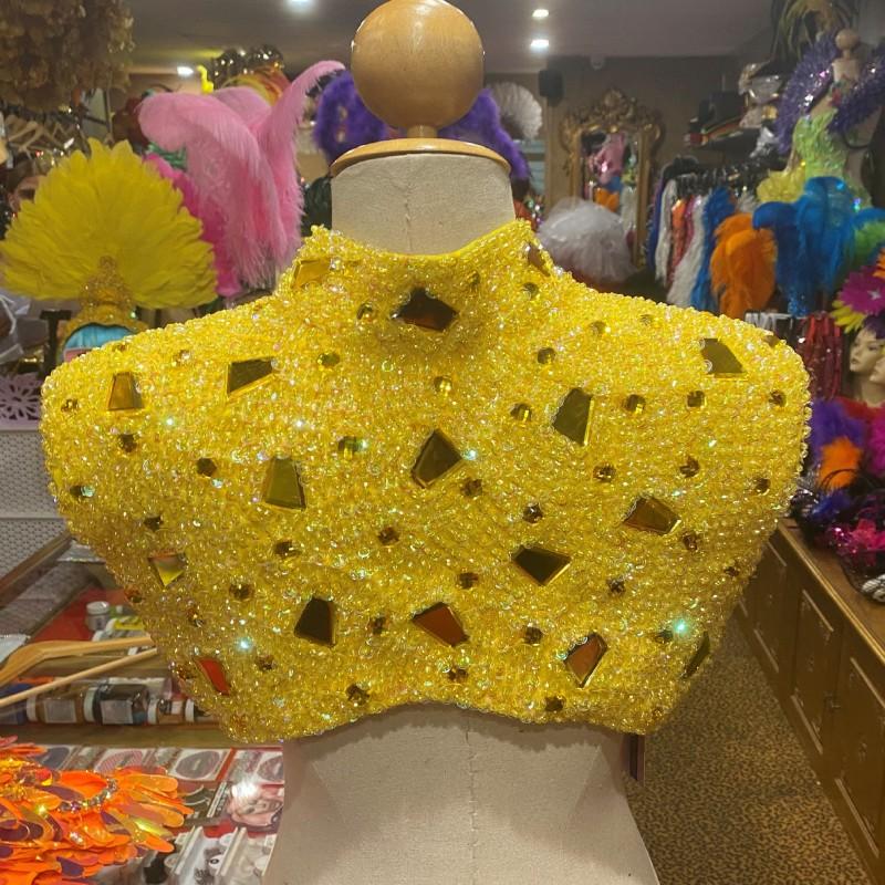 Mirrored Sequin Shoulder Shrug Yellow