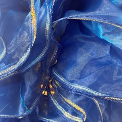Royal Blue Crystal Organza Boa 250cm with Silver Sequin Trim