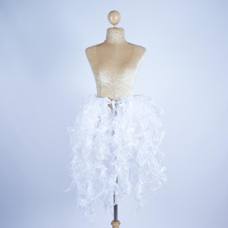 White Crystal Organza Bustle Seaweed Skirt