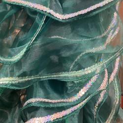 Dark Green Crystal Organza Boa 250cm with Silver Sequin Trim