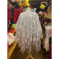 White Seaweed Crystal Organza Jacket with Sequin Trim