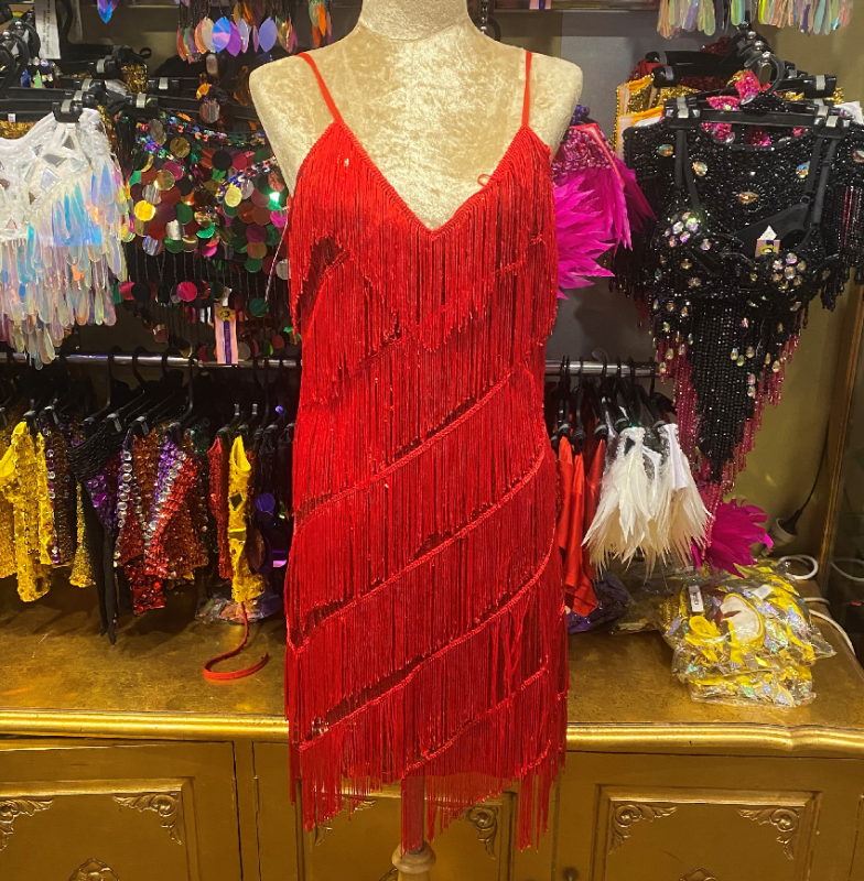 Stretch Sequin Dress with Fringing Red