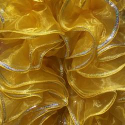 Mini Organza Boa 200cm Yellow with Silver Sequin Trim