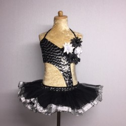 Candy Flower Sequin Leotard with Tu Tu Black and Silver