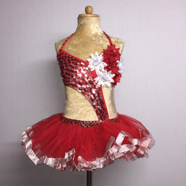 Candy Flower Sequin Leotard with Tu Tu Red and Silver