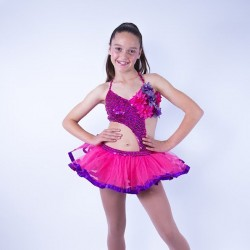 Candy Flower Sequin Leotard and Tu Tu Skirt Hot Pink and Purple