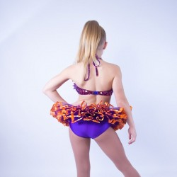 Candy Flower Sequin Leotard and Tu Tu Skirt Purple and Orange