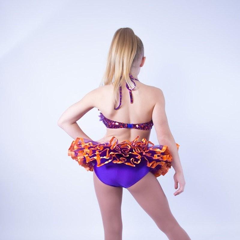 Candy Flower Sequin Leotard and Tu Tu Skirt Purple and Orange