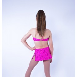 Candy Beaded Leotard with Aline Skirt Hot Pink
