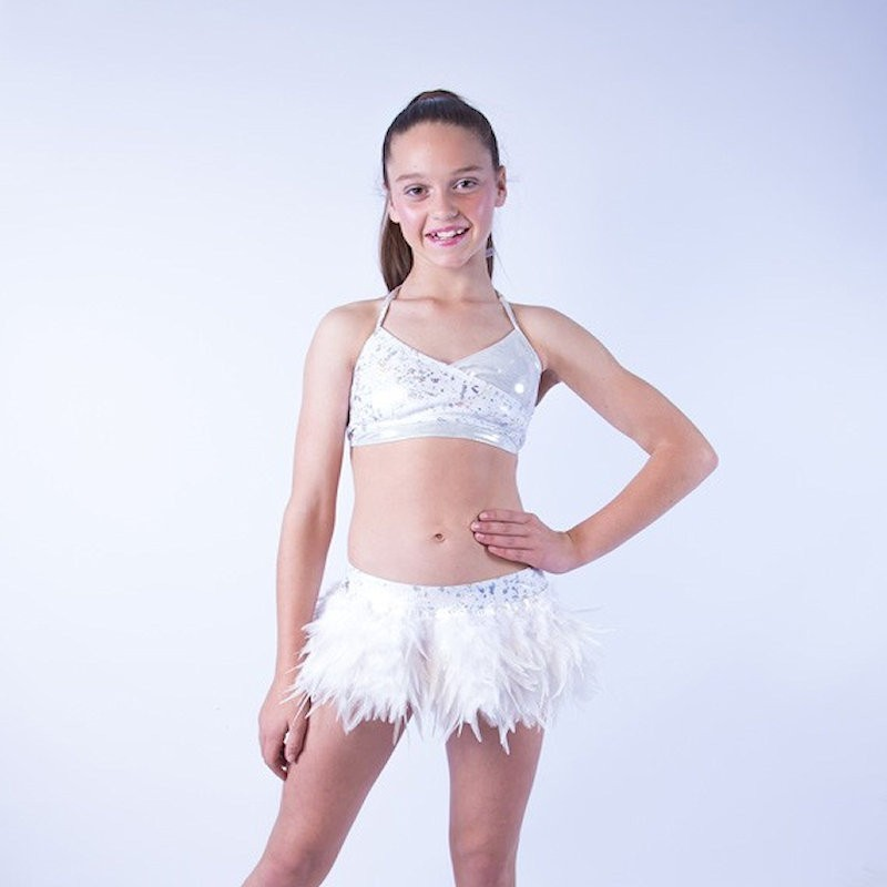 USA Foil Crop Top and Feather Skirt White