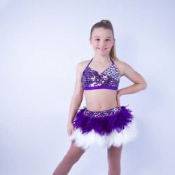 USA Crop Top and Feather Skirt Set Purple and White