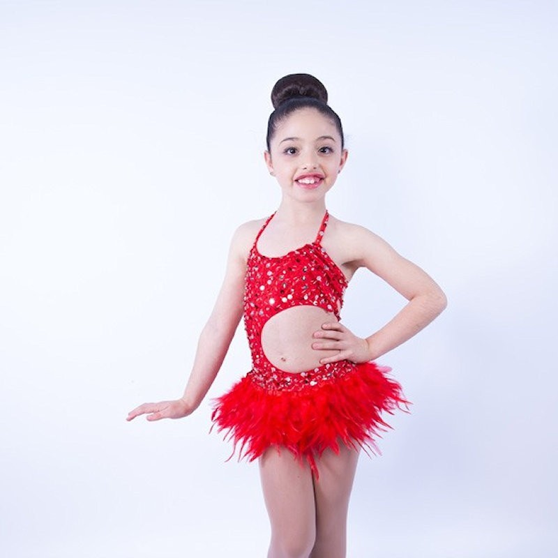Lucy Leotard and Feather Skirt Set Red
