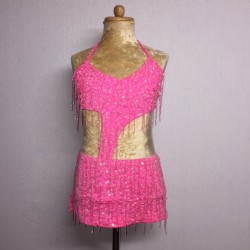 Candy Beaded Leotard with Fringe Aline Skirt Light Pink