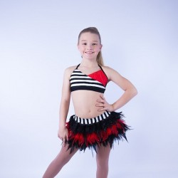 USA Crop Top Striped and Feather Skirt Set Black Red White