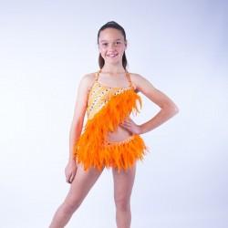 Lucy Diamante Feather Leotard Orange
