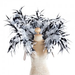Feather Lace Collar White Black