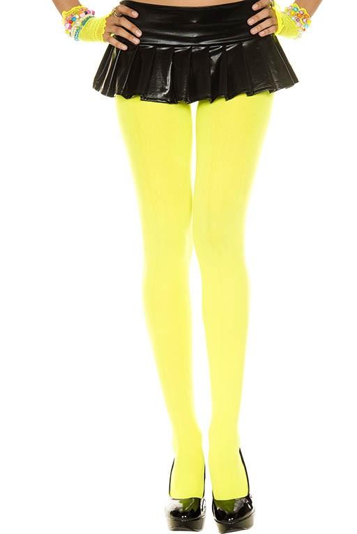 Music Legs Opaque Tights Neon Yellow