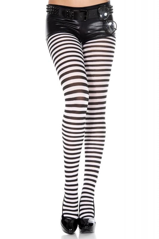 Music Legs Striped Pantyhose Black / White