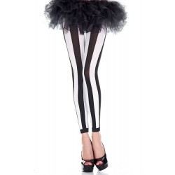 Music Legs Striped Pantyhose Black / White Vertical Tights