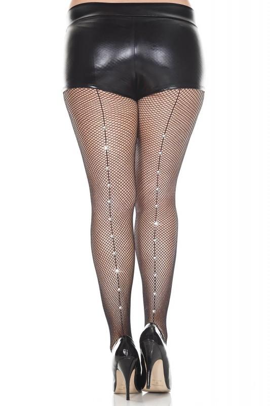 Music Legs Rhinestone Backseam Pantyhose Black Plus Size