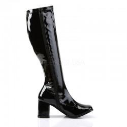 SALE - Gogo 300 Stretch Boot Black Patent Pleaser