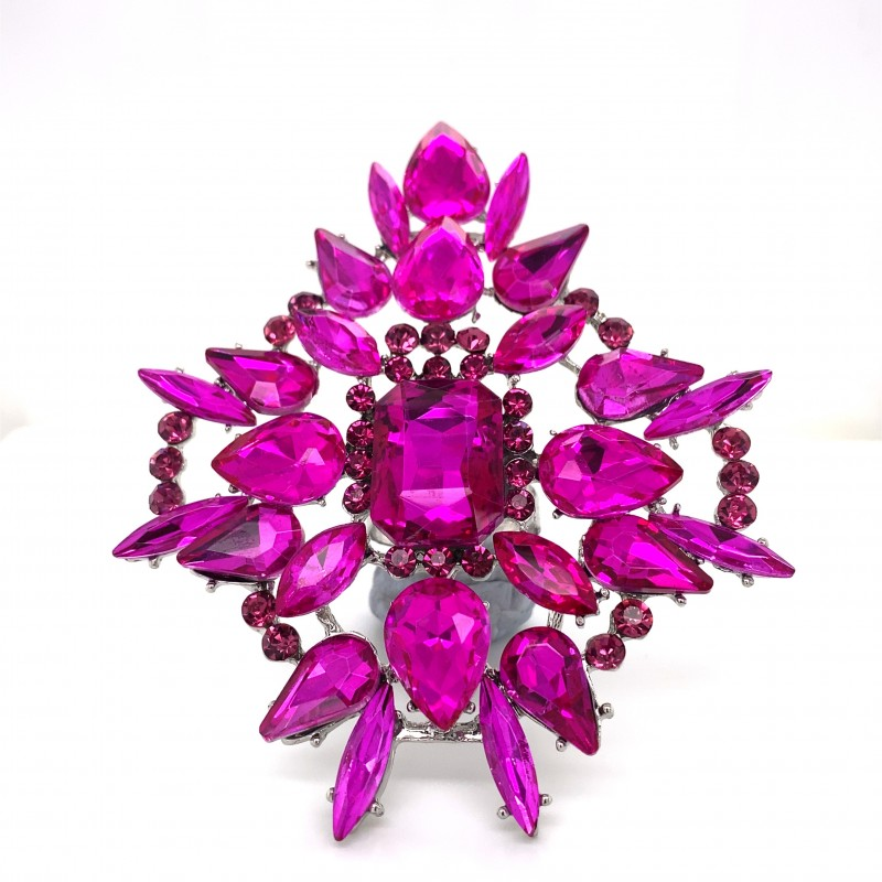 Pink Crystal Diamante Ring 09