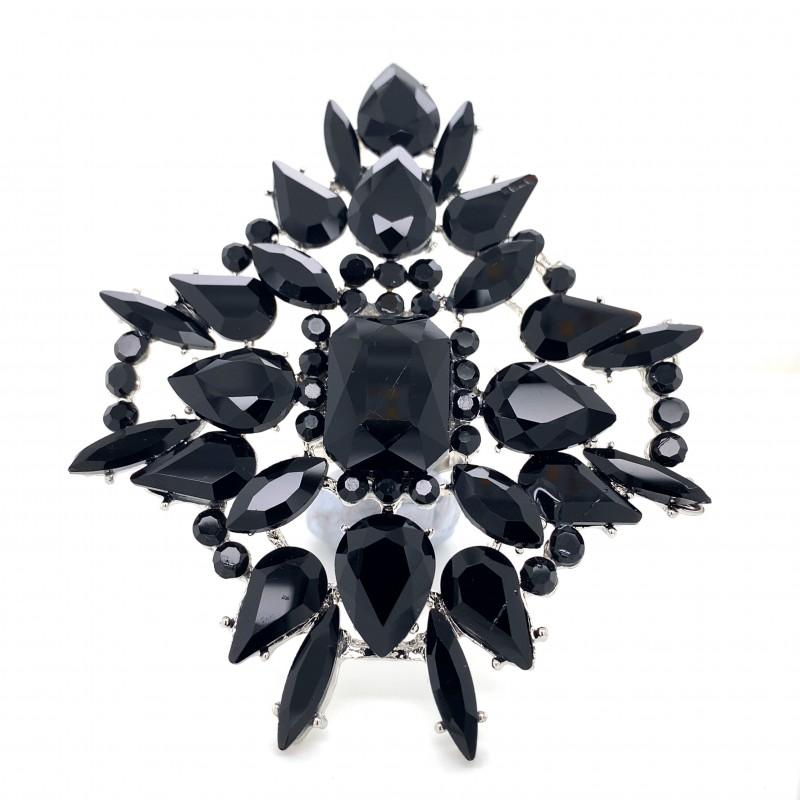 Black Crystal Diamante Ring 09