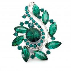 Emerald Green Crystal Diamante Ring 07